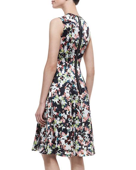 Bunty Floral Silk Dress with Full Skirt