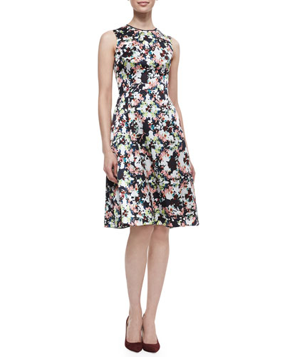 Erdem Bunty Floral Silk Dress with Full Skirt