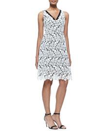 Erdem Elizabeth Sleeveless Floral Lace Dress, White
