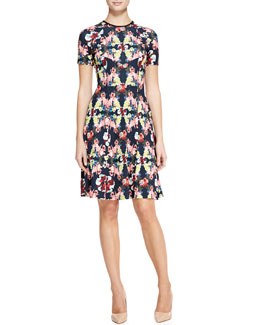 Erdem Armel Paneled Printed Dress