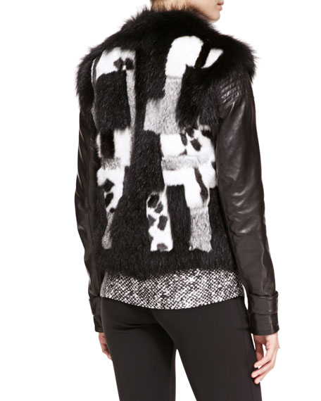 Patchwork Fur Jacket with Leather Sleeves