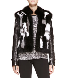 Roberto Cavalli Patchwork Fur Jacket with Leather Sleeves