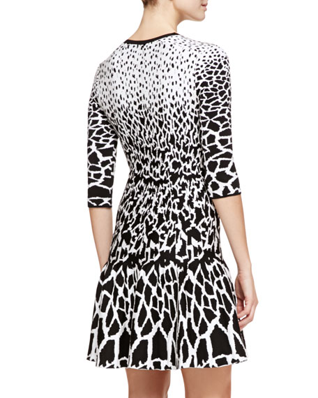 Giraffe-Print Full-Skirt Dress