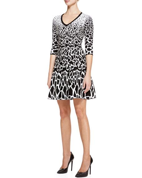 Giraffe-Print Full-Skirt Dress