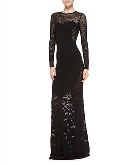 Roberto Cavalli Solid-Center Patterned Sheer Gown