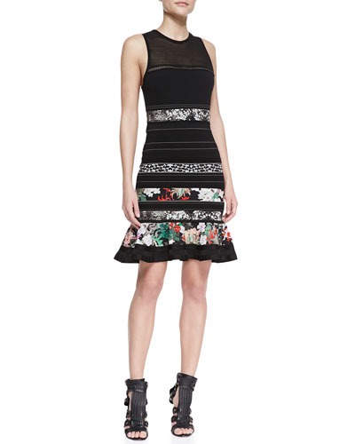 Roberto Cavalli Sleeveless Knit Ruffle-Hem Dress, Multicolor