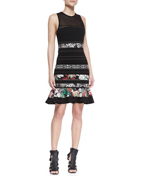 Sleeveless Knit Ruffle-Hem Dress, Multicolor