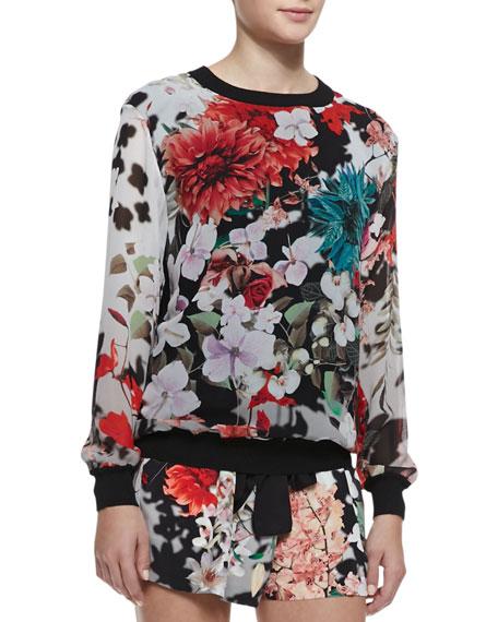 Silk Floral-Print Long-Sleeve Top