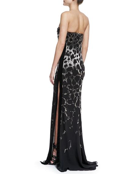 Strapless Embellished Leopard Gown, Black