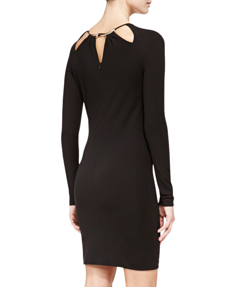 Cutout-Neck Slim Jersey Dress