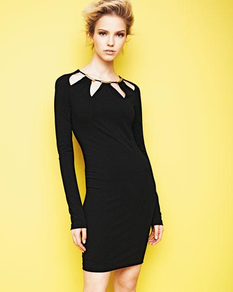 Cutout-Neck Slim Jersey Dress