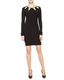 Roberto Cavalli Cutout-Neck Slim Jersey Dress