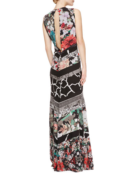 Patchwork Tiered Sleeveless Silk Gown