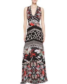 Roberto Cavalli Patchwork Tiered Sleeveless Silk Gown