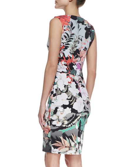 Eden-Print Sleeveless Sheath Dress, Multicolor