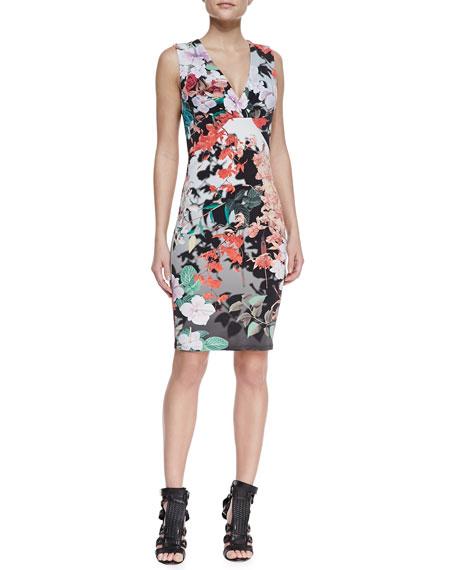 Eden-Print Sleeveless Sheath Dress, Multicolor