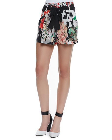 Silk Floral-Print Sash-Tie Shorts