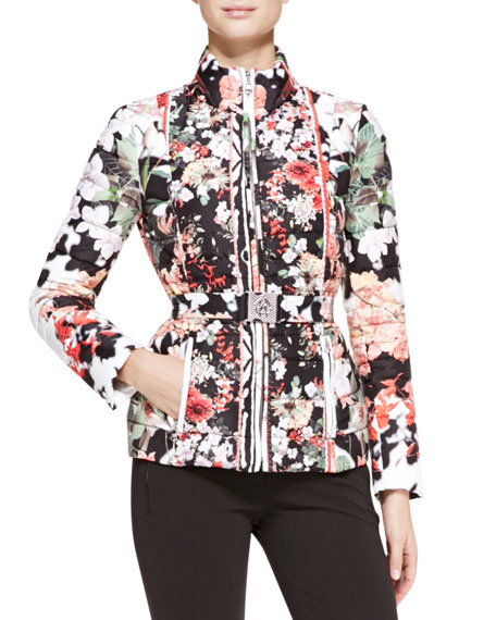 Eden-Print Long-Sleeve Puffer Coat