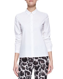 Paule Ka Long-Sleeve Stretch Cotton Poplin Blouse, White