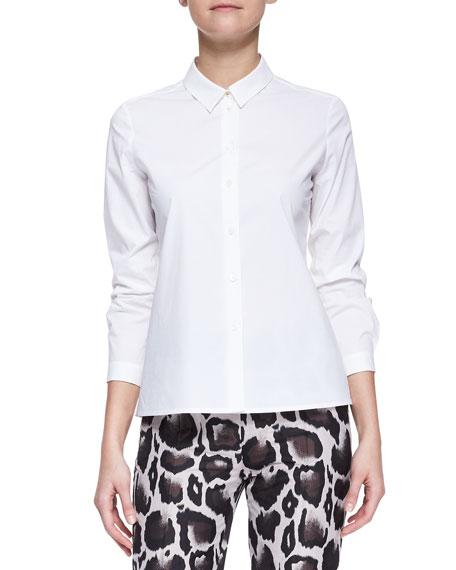 Long-Sleeve Stretch Cotton Poplin Blouse, White