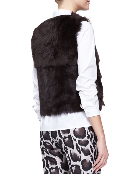 Reversible Shearling Fur/Leather Vest, Brown