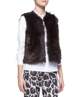 Paule Ka Reversible Shearling Fur/Leather Vest, Brown
