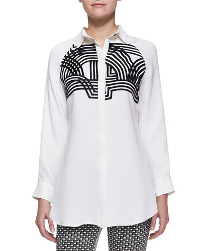 Lela Rose Embellished Line-Drawn Blouse