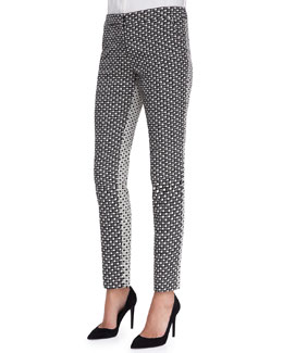 Lela Rose Caroline Printed Reverse-Back Pants, Black/Ivory