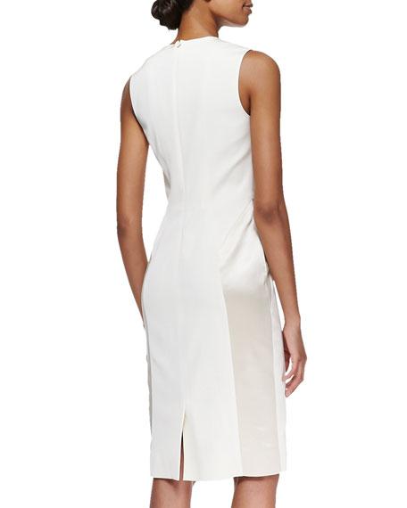 Sleeveless Embroidered Tuxedo Dress