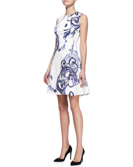 Printed Seamed Drop-Waist Dress