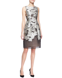 Lela Rose Metallic Embroidered Full-Skirt Dress