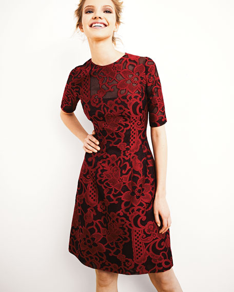 Brocade Lace Elbow-Sleeve Dress