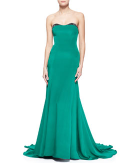 Lela Rose Embellished-Sweetheart-Neck Strapless Gown