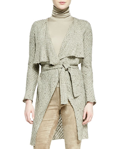 Ralph Lauren Collection Helene Drape-Neck Sweater-Knit Jacket