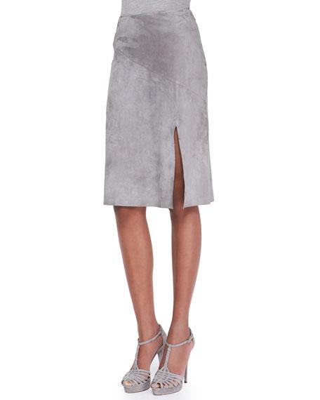 Anastasia Suede Slit Skirt