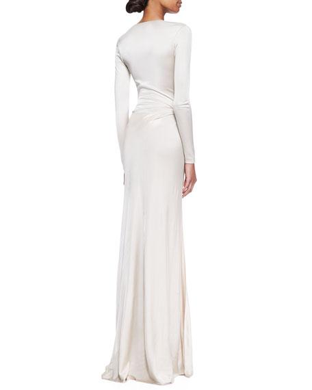 Miranda Jersey Evening Dress, Wheat