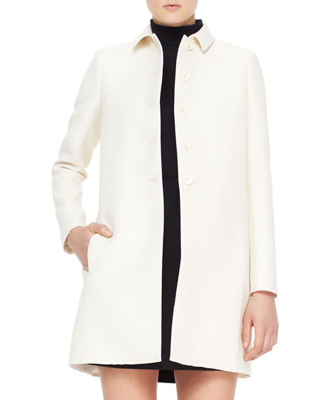 Contrast-Back-Pleat Wool-Silk Drill Coat, Ivory/Black