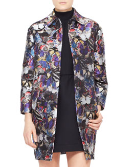 Valentino Butterfly Brocade Coat, Purple/Multi