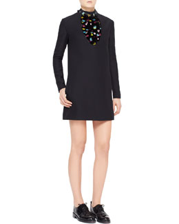 Valentino Long-Sleeve Feather-Bib Crepe Dress, Black/Multi