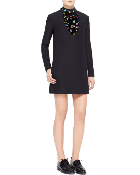 Long-Sleeve Feather-Bib Crepe Dress, Black/Multi