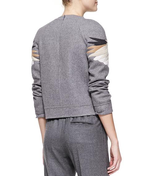 Embroidered Eagle Sweatshirt, Gray