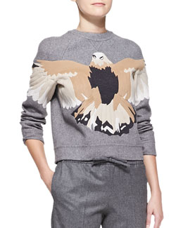 Valentino Embroidered Eagle Sweatshirt, Gray