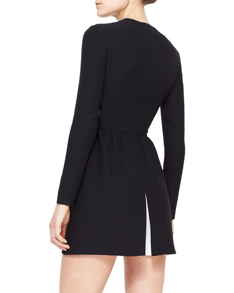 Jewel-Neck Long-Sleeve Dress with Contrast Pleat, Black/Ivory