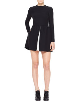 Valentino Jewel-Neck Long-Sleeve Dress with Contrast Pleat, Black/Ivory