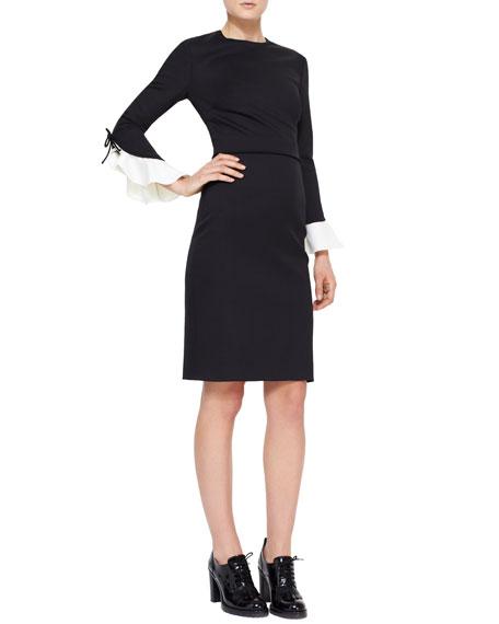 Contrast Flutter-Cuff Dress, Black/Ivory