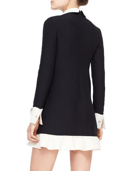Contrast Scalloped Voulant Dress, Black/Ivory