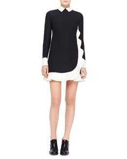 Valentino Contrast Scalloped Voulant Dress, Black/Ivory