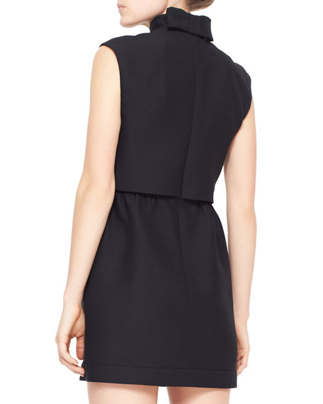 Sleeveless Crepe Dress with Two-Piece Illusion