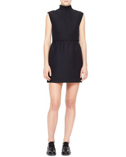 Valentino Sleeveless Crepe Dress with Two-Piece Illusion