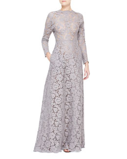 Valentino Long-Sleeve Lace Gown with Open Back